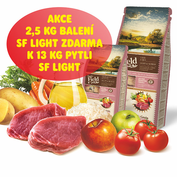 akce: 2,5kg SF Light & Senior k13kg pytli zdarma