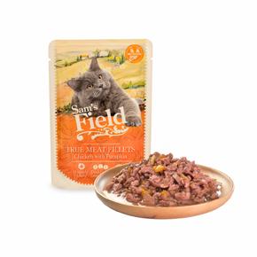Sams Field True Meat Fillets Chicken with Pumpkin, kapsička pro kočky 85g (Sam's Field)