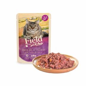 Sams Field True Meat Fillets with Turkey & Carrot, kapsička pro kočky 85g (Sam's Field)