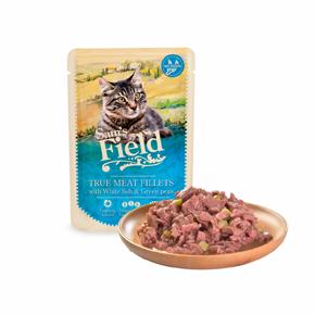 Sams Field True Meat Fillets with White Fish & Green Peas, kapsička pro kočky 85g (Sam's Field)