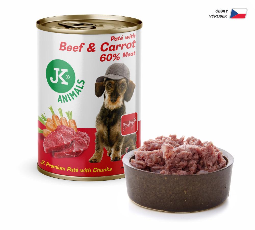 JK ANIMALS Beef & Carrot, Premium Paté with Chunks | © copyright jk animals, všechna práva vyhrazena