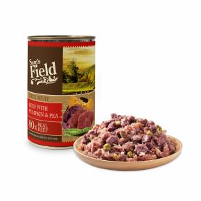 Sams Field True Meat Beef With Pumpkin & Pea, superprémiová masová konzerva pro psy (Sam's Field)