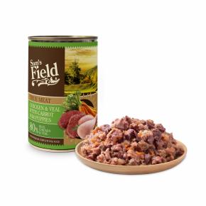 Sams Field Chicken & Veal Meat With Carrot for Puppies, superprémiová masová konzerva pro štěňata (Sam's Field)