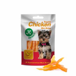 Meat Snack Puppies Chicken Mini Strips Meat Snack, kuřecí mini proužky pro štěňata, masový pamlsek, 50g