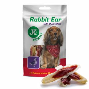 Meat Snack Rabbit Ear with Duck Meat, sušené králičí uši skachním masem, masový pamlsek, 80g