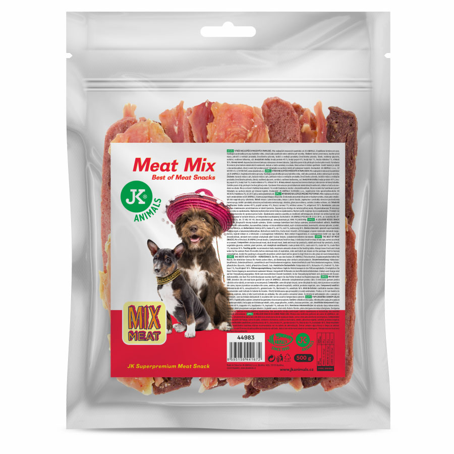 JK ANIMALS Meat Snack Mix, masový pamlsek, 500g | © copyright jk animals, všechna práva vyhrazena