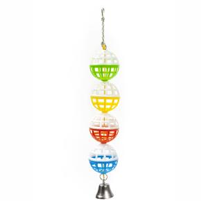 Čtyři míčky se zvonkem, plastová hračka pro ptáky