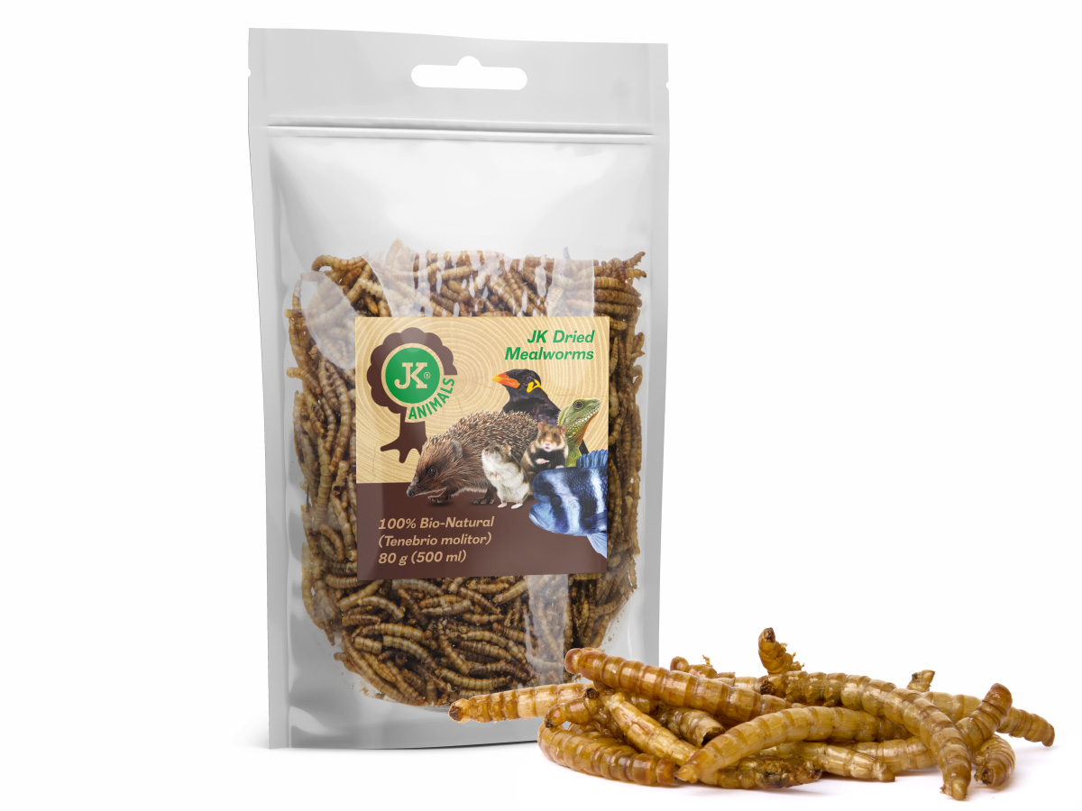 Sušené moučné červy JK Dried Mealworms, 80g | © copyright jk animals, všechna práva vyhrazena