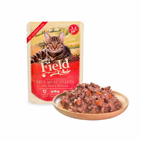 Sams Field True Meat Fillets with Beef & Beetroot for sterilized cats, kapsička pro kočky 85 g (Sam's Field)