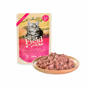 Sams Field True Meat Fillets with Turkey & Broccoli for Kittens, kapsička pro kočky 85 g (Sam's Field)