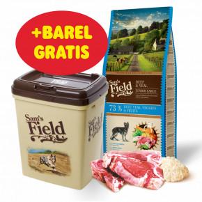 Sam's Field Gluten Free Beef & Veal Junior Large, superprémiové granule pro štěňata a mladé psy velkých a obřích plemen 13kg (Sams Field bez lepku)