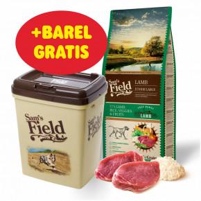 Sam's Field Low Grain Junior Large Lamb - Free Range, superprémiové granule pro štěňata a mladé psy velkých plemen sjehněčím zvolného chovu, 13kg (Sams Field bez pšenice)