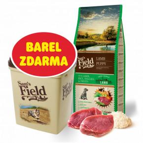Sam's Field Low Grain Puppy Lamb - Free Range, superprémiové granule pro štěňata sjehněčím zvolného chovu, 13kg (Sams Field bez pšenice)