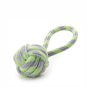 Bavlněné proplétané přetahovadlo, zelené, bavlněná hračka pro psy, 9cm, ideální pro aktivní hru