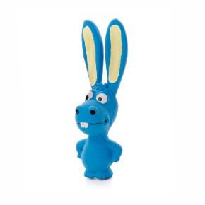 Latexový ušatý oslík, modrý, pískací hračka pro psy, 17cm, ideální pro aktivní hru