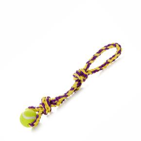 Bavlněné přetahovadlo s tenisákem, bavlněné přetahovadlo pro psy, 43cm, ideální pro aktivní hru