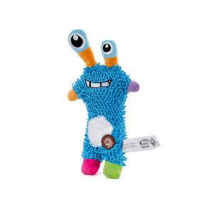 Monster mop modrý, plyšová pískací hračka