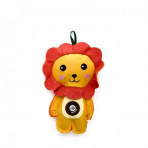 Lev, pískací hračka z pevné textilní látky, 19cm