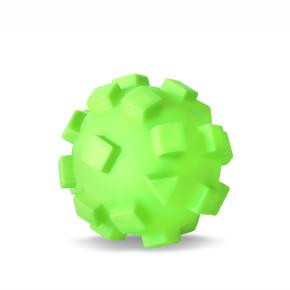 Vinylový míč s kostkami XL, zelený, pískací hračka pro psy, 12cm, ideální pro aktivní hru