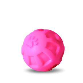 Vinylový míč s tlapkou L, růžový, pískací hračka pro psy, 10cm, ideální pro aktivní hru
