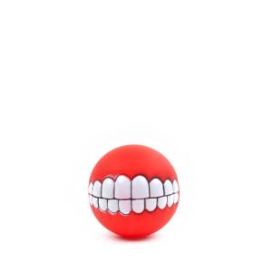 Vinylový míč úsměv se zuby, pískací hračka pro psy, 7,5cm, ideální pro aktivní zábavnou hru