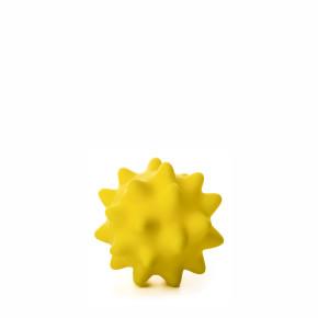 Vinylový míč s bodlinami, žlutý, pískací hračka pro psy, 9cm, ideální pro aktivní hru
