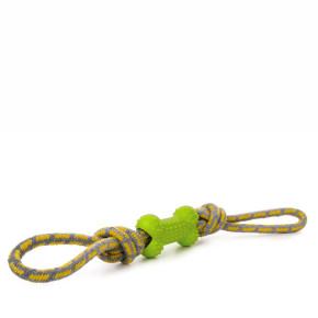 Bavlněné přetahovadlo s TPR zelenou kostí, odolná (gumová) hračka ztermoplastické pryže