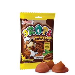 Mlsoun Drops, čokoládový pamlsek, 75g, pochoutka pro psy