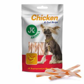 Kuřecí proužky s treskou, masový pamlsek, 80g (Chicken & Cod Strips Meat Snack)