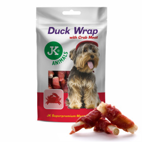 Wrap s kachním a krabím masem, masový pamlsek, 80g (Duck Wrap with Crab Meat, Meat Snack)