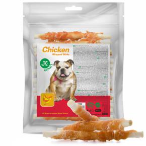 Wrap s kuřecím masem na buvolí tyčince, masový pamlsek, 500g (Chicken Wrapped Sticks Meat)