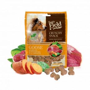Sam's Field Crunchy Cracker Goose with Sweet Potatoes & Spinach, křupavý husí pamlsek se sladkými bramborami a špenátem pro psy, 200g (Sams Field masový pamlsek)