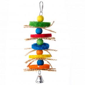 JK špíz s Lufa houbou, dřevěná hračka pro ptáky