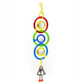 Kruhy se zrcátky a zvonkem, plastová hračka pro ptáky