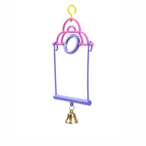 Houpačka se zrcátkem a zvonkem, plastová hračka pro ptáky