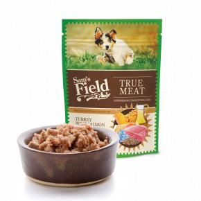 Sam's Field True Meat Turkey with Salmon & Linseed Oil for Puppy, šťavnaté masové kapsičky krůtí slososem a lněným olejem pro štěňata, 260g (superprémiové kapsičky pro štěňata)