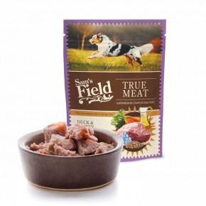 Sam's Field True Meat Duck & Turkey with Linseed Oil, šťavnaté masové kapsičky kachní a krůtí maso selněným olejem pro psy, 260g (superprémiové kapsičky pro psy)