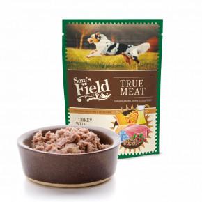 Sam's Field True Meat Turkey with Salmon & Lingonberry, šťavnaté masové kapsičky krůtí slososem a brusinkami pro psy, 260g (superprémiové kapsičky pro psy)